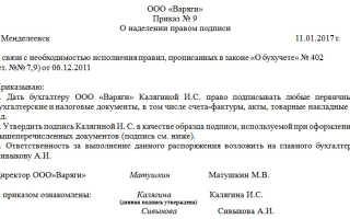 Предоставление права подписи на документах